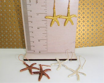 Starfish Earrings,Gold Silver Rosegold Starfish,Starfish Charm Earring,Copper color,Silver Starfish,Gold Starfish,Textured Starfish Earring
