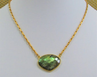 """Labradorite Gold Bezeled Pendant Freeform Large Faceted Triangle Cabochon Gemstone 30mm X 20mm,17"""" Gold chain w/lobster claw clasp,Gorgeous"""