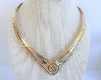 Silver and Gold collar necklace, gold border, spiral gold plated accent,sturdy V neck collar,Quality, Celtic ,comfy, adjustable,fits anyone