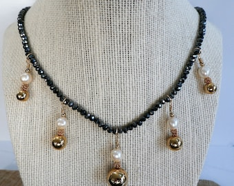 Charcoal faceted Crystal bead necklace,5 gold ball pendants of 5 14k gold balls,beads,wires,5 pearls,clasp, will tailor length to meet needs