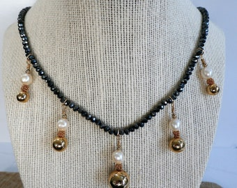Charcoal faceted Crystal bead necklace,5 gold ball pendants of 5 14k gold balls,beads,wires,5 pearls,clasp,more pieces available in suite
