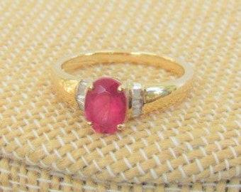 Pink Tourmaline,Diamond Ring,High Polished,14K Gold band,Ring,Size 7,Oval Tourmaline,Tourmaline,Vintage ring,Tourmaline Diamond ring,Diamond