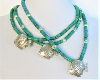 "Turquoise Heishi & Silver Fish Necklace,Choice of Bright Cage or Antique Rope Beads,Choice of Length 18"" 20"" 22"",One side Solid Silver Fish"