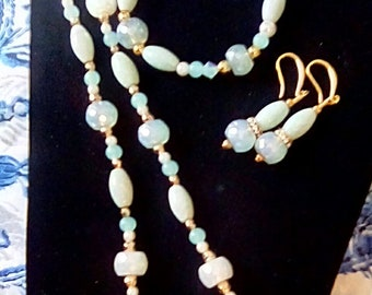 Amazonite 22 inch necklace,Sea green aventurine oval beads,pearls, gold balls,earrings and bracelet included faceted opal beads,gold hook
