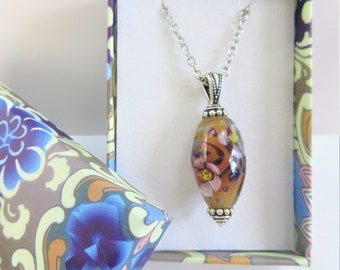 Lamp work Floral Bead Pendant,20 in.Sterling Silver Chain,Oval Handcrafted Pink& amber flower glass,crystal focal, 925 lobster claw and ring
