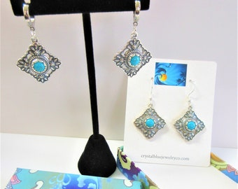 Solid Sterling Sleeping Beauty Turquoise Earrings,Southwestern Antiqued,Diamond shaped,Bevel set 7 mm cabochon stones,Choice of ear wires