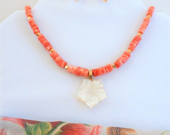 """Coral and gold Necklace Earring set, 21"""" of cut coral, 22  14k gold plated beads, mother of pearl flower on 14k gold bail,earrings to match"""