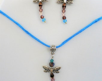 Pendant Earring SET ,Dragonfly Dreams - - multicolored faceted bead dragonflies, silver wings, bail, Pendant  pierced earrings,w/ neck cord