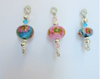 Floral Lamp Work Bead Pendant,Yellow Pink Blue Clear Glass Blown,10-15 mm Bead,Silver Plated Corrugated Beads,Wire bail, chain and pearl