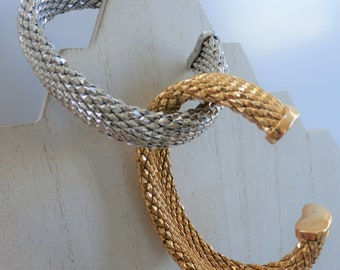 """Vintage Italian solid Bronze Mesh Cuff in Gold or Silver-Large 8"""" bracelet, both Nickel Free and Tarnish resistant,never worn, flexible"""