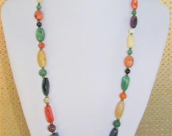 Multi Gemstone Necklace,Polished Colored Gemstone Beads,Long Gemstone Strand,Carnival color gemstone,Semi precious stone Necklace,Vintage