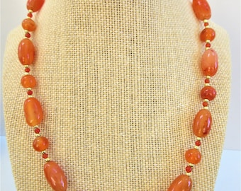 """Carnelian and gold bead necklace, 20"""" polished gemstone necklace,tiny carnelian and gold plated bead spacers, twist screw clasp, hand strung"""