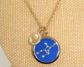 Virgo pendant,Blue Enamel pendant,Constellation,Virgo charm pendant,Gold and blue necklace,virgo medallion,Astrological pendant,Gold cable