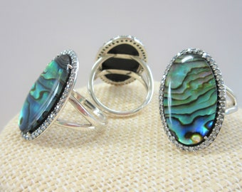 Genuine Abalone Sterling Ring,21 X 14mm abalone shell,Crystal Oval Doublet,Solid.925 silver,48 prongset Zircon Pave frame, Size 5,6,7,8, NEW