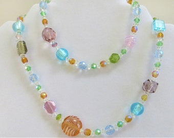 "Pastel 29"" strand Necklace of glass crystal beads, long single strand of faceted crystal beads. hand made lampwork beads, swarovski aurora"