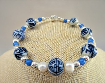 """Chinese Porcelain antique bead bracelet,with blue jade, silver and 2 genuine pearls,handwired with a silver magnet clasp - medium size, 7.5"""""""