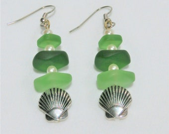 Glass Bead Earrings,Green Sea-glass silver shell Pearl Earrings - Silver Pierced bead earrings, shades of green tumbled glass, with pearls