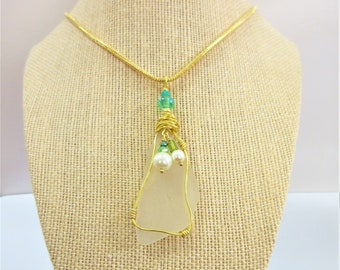 """White Sea Glass pendant wire wrapped in gold,w/white pearls,lamp work glass beads & crystals, includes 18"""" 2.5 mm gold snake chain w /ext"""