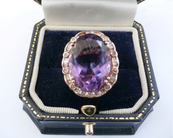"Vintage Amethyst Ring, 10.00 ct, & 3/4 ct tw Diamond Ring 14K,Rose Gold, size 8, 18 X 15 mm gemstone, 1"" X 3/4 inch,Cocktail ring never worn"