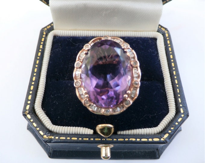 Featured listing image: Vintage Amethyst Ring, 10.00 ct,1 ct Diamond Ring,14K Rose Gold ring,size 8,Oval amethyst,18 X 15 mm gemstone,Heirloom Cocktail size 8 ring