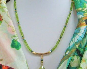 Faceted Peridot & Green Chalcedony Necklace,20 inches of Genuine Gemstones,countless carats,135 4mm Peridot,26X17 mm Gold Bezeled Pear Stone