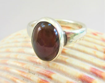 Red Bloodstone oval bezel set Cabochon and Silver Vintage ring,Handmade single shank thick silver,closed back.Bright red in light, Unisex