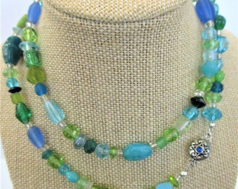"30"" Mixed Blue Green Crystal/Glass Bead Necklace, Clear silver lined glass spacer beads,decorative 2 side inlaid silver clasp,One of a Kind"