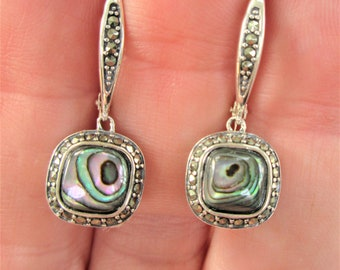 Sterling silver Abalone Marcasite lever back earrings,Genuine inlaid abalone shell w/prong set marcasite stones,Filigree.925 silver,AVON