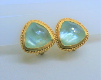 """Vintage Julie Vos Gold Chalcedony clip earrings, Vos's """"Pegasus"""" Clip earrings,Triangle puff faceted aqua chalcedony,24K Gold,Hallmark,Box"""