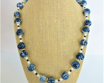 Chinese Longevity Vintage Bead Necklace, 23 inches,freshened rewired w/pearls & blue crystals,Gold Lobster Ring Close,Porcelain hand painted