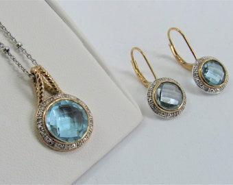 Blue Topaz Jewelry,Pendant and Earrings,Blue Topaz, Diamond Jewelry,Gold & Silver Pendant,Silver Beaded Chain,8-10mm Topaz,Topaz Jewelry Set