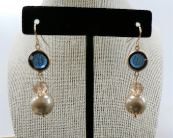 Blue glass Bead earrings, Blue Moon, faceted Blue glass, pearls , crystal and gold findings on fishhook earrings, other ear-wires available