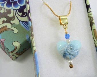 "Ocean Wave Heart Pendant, Gold 18"" Neckchain, Handcrafted blue Lampwork 2 sided glass focal,Crystals pearl & gold,lobster claw, Only One!"