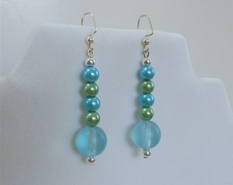 Blue green bead  earrings, Summer Bubbles Earrings- Pearls and sea-glass beads with sterling earwires