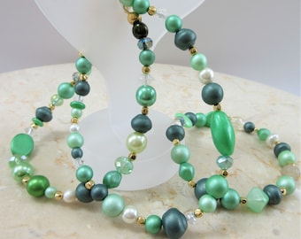Green glass bead bracelets, green goddess Czech glass beads,3 separate green bracelets, green glass pearls,Mix beads, 14k gold bead spacers,
