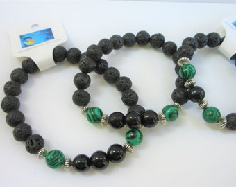 Black Lava Malachite Bead Bracelet, Stretch Beads, Black Obsidian, Sterling Silver,  8 mm beads, Masculine,Unisex, Handsome Stone Bracelet