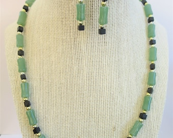 Beaded Chalcedony Necklace and earrings,SS beads, black cube beads,21 inch beaded necklace and  1.5 inch earrings set, with SS ear wires
