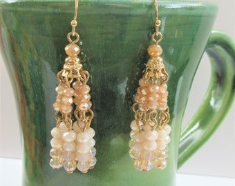 Beige,Cream,Aurora Faceted Bead Chandelier Earrings, Gold dangle beaded fishhook earrings,86 sparkling bead earrings,Swing bead earrings