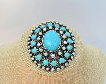 Large Silver Turquoise Pin Brooch,Vintage Vertical OVAL Filigree Turquoise Howlite Cabochon,studded,Southwestern,Unisex 25 X 19 mm stone