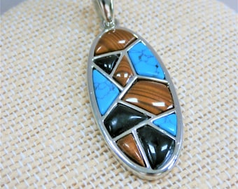 Turquoise,Onyx,Tiger's Eye Silver Pendant,Vintage modern silver oval mosaic,with box,never been worn,retired,complete w/box