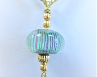 Striped LampWork Bead Pendant,GOLD Plated Corrugated Beads,Teal Purple Stripes Clear Glass Blown 20 mm Bead,Gold Wire bail & chain,Pearl