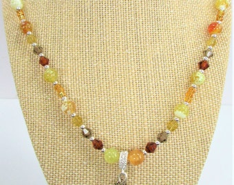 Bee Honey Comb Bead Necklace,Golden shades agate,Crystals,Glass beads,S.silver beads,Honey beads,Silver Bumble Bee Wing Pendant,Crystal Bale