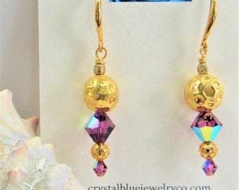 Purple Swarovski Earrings,22kt Gold Beads,Honeycomb Beads,Exotic Earrings,Purple Bicone Earrings,Beads,Swarovski Orchid Crystal,Gold Fishook
