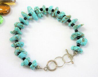 Genuine Turquoise bracelet,8-9 inch,nuggets & black glass beads,22 half-inch,Sterling silver toggle and multiple ring closure, Hand crafted