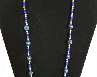 "Blue stone 14k Gold bead 24"" necklace,10 mm navy beads, blue glass beads paired with gold plated beads, gold lobster claw w/ 3 inch ext."