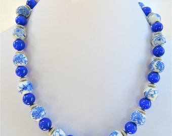"""Porcelain Hand Glazed Bead Necklace, 18"""" re- beaded floral vintage , blue mother of pearl glass , Sterling Silver textured beads and s Clasp"""