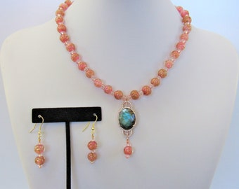 Vintage Italian Glass,Jewelry set,Pink Beads,Labradorite pendant,rosegold  bezel setting,Lampwork gold foiled,Venice Glass,1950's,CZ accents