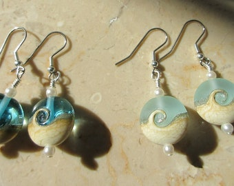 Ocean Wave Bead Earrings,Frost Teal Glass Beach Wave,Genuine Pearls,Choice of Sterling Ear wires,post,lever,hook,Pendant Available to match