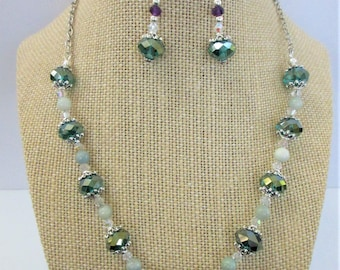 Blue Lagoon Agate,Crystal,Sterling Necklace & Earrings,NK w/2 sided .925 medallion,ER include large faceted Genuine Amethysts,fish hooks