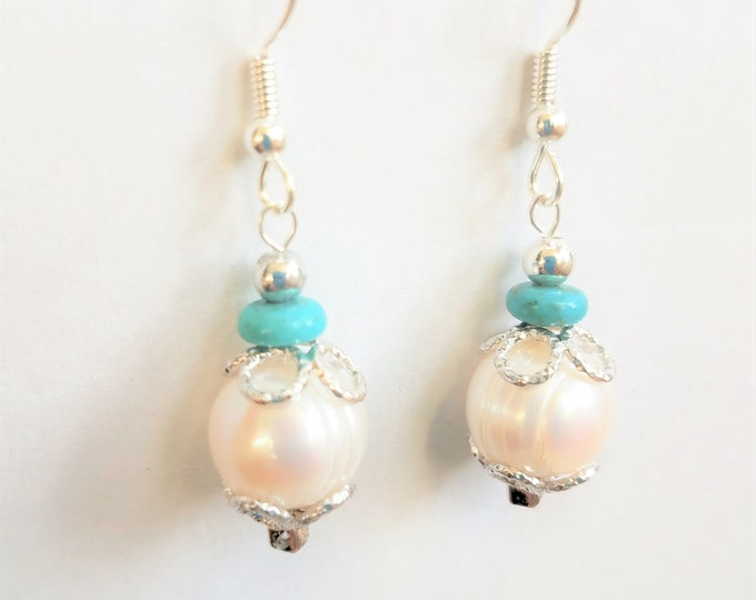 """Featured listing image: Sterling & Pearl Earrings,11 mm Snow White pearl, genuine cultured pearls,turquoise Rondele bead, 925 silver """"baskets"""",wires,silver bead top"""